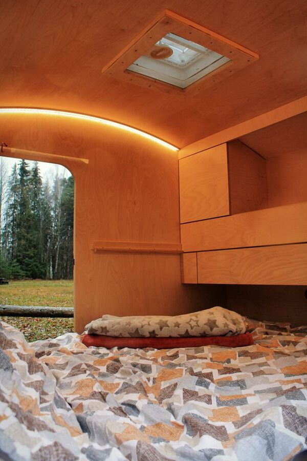 Teardrop camper bed made