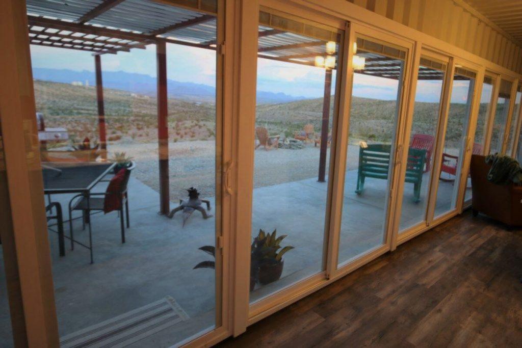 Patio doors leading to desert
