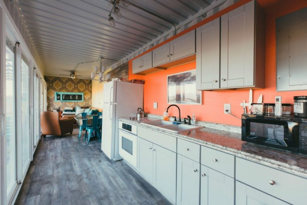 Galley kitchen in container home