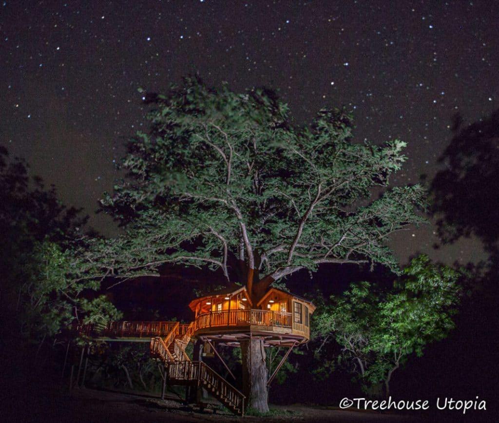 Treehouse at night
