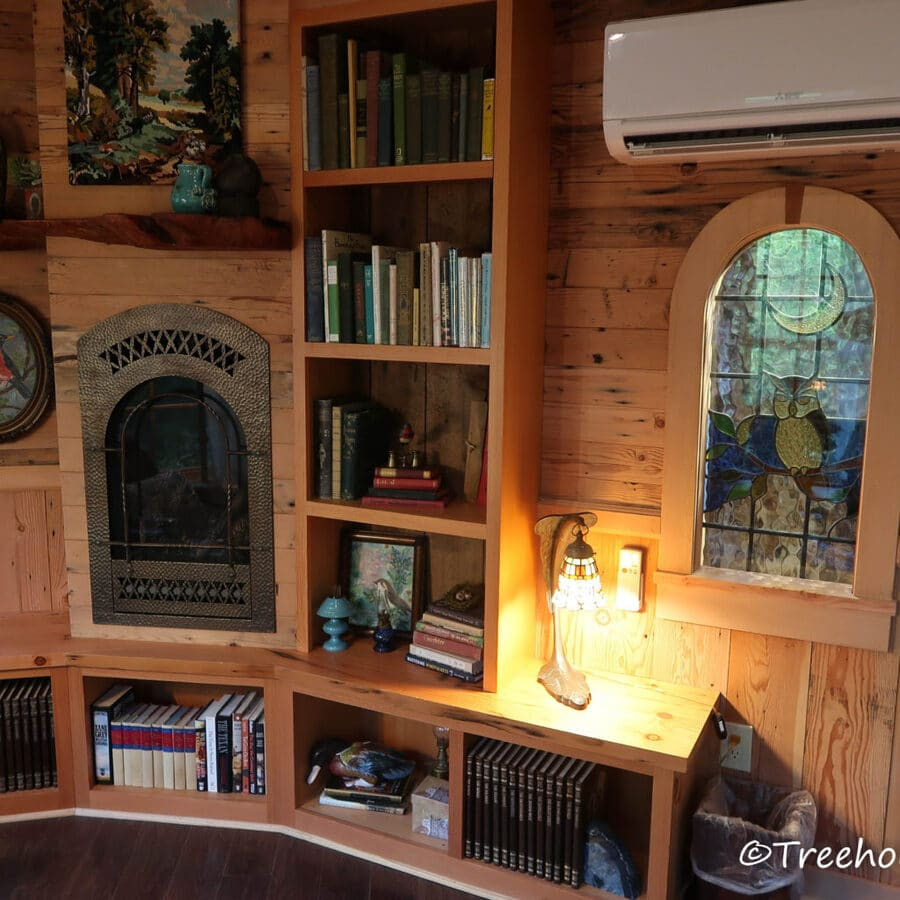 Bookshelves filled with old books