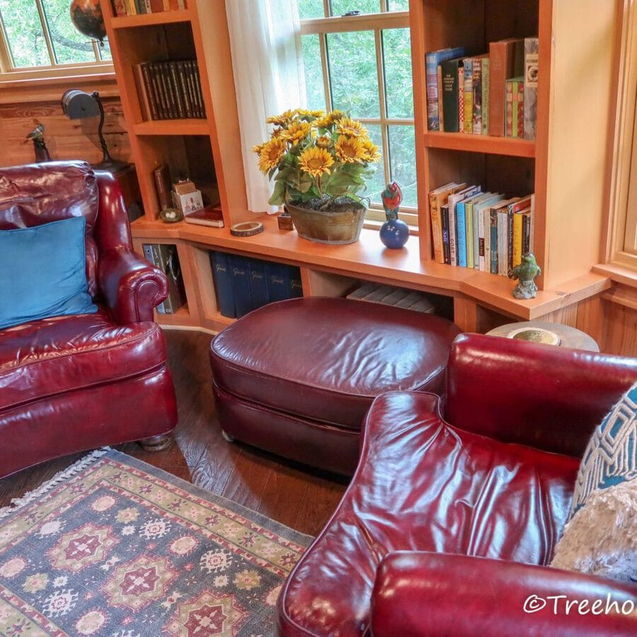 Red leather sofa by bookcase