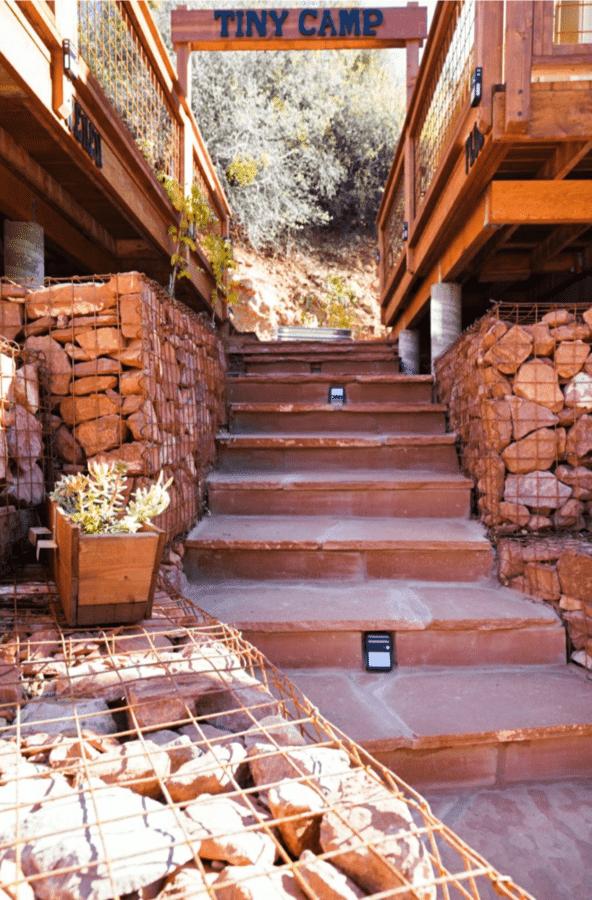 Rock wall under tiny house