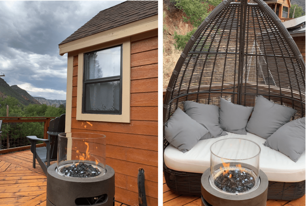 Fire pit and swing seat on tiny house porch