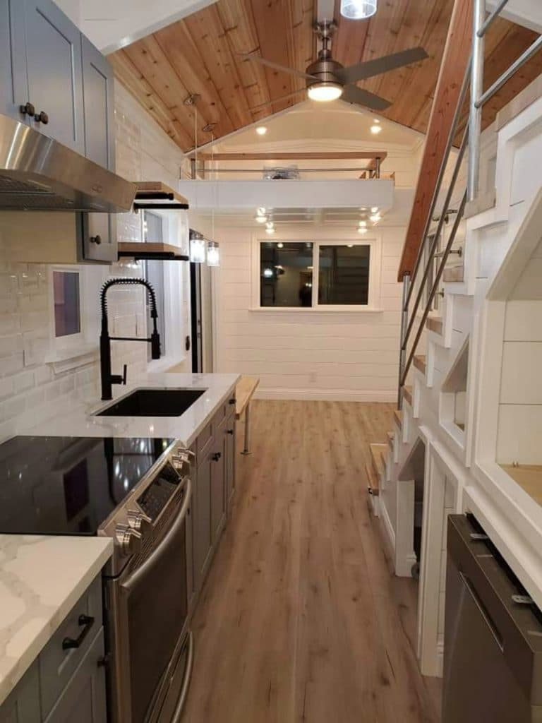 View of tiny house kitchen