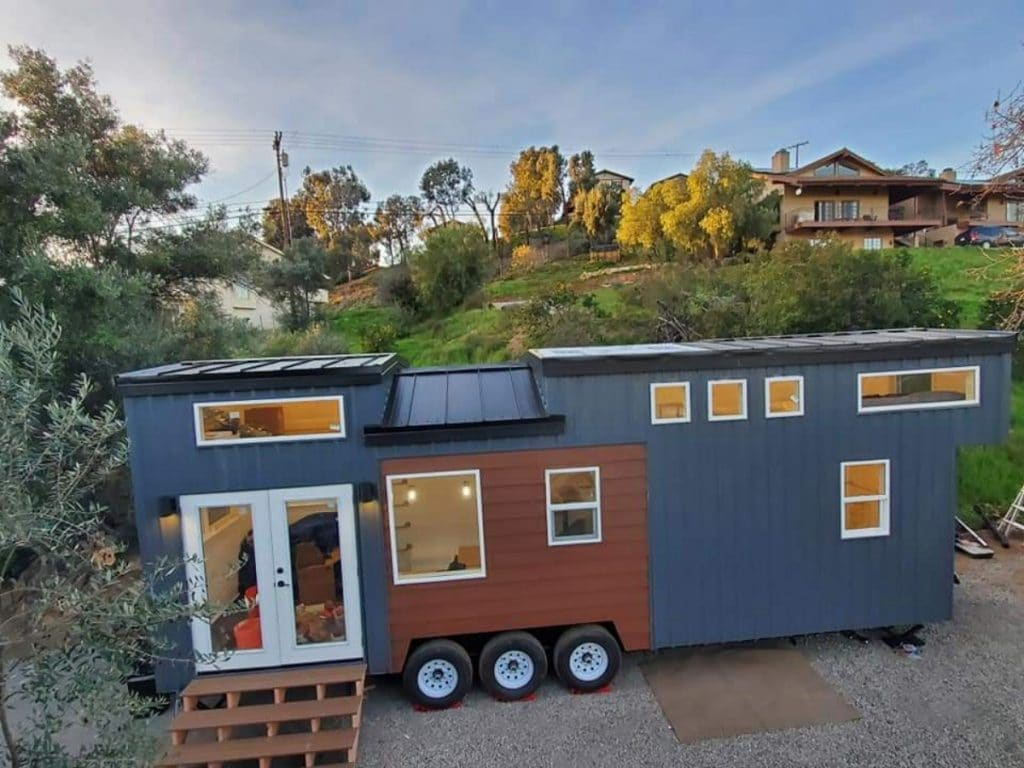 Blue lux exterior tiny house