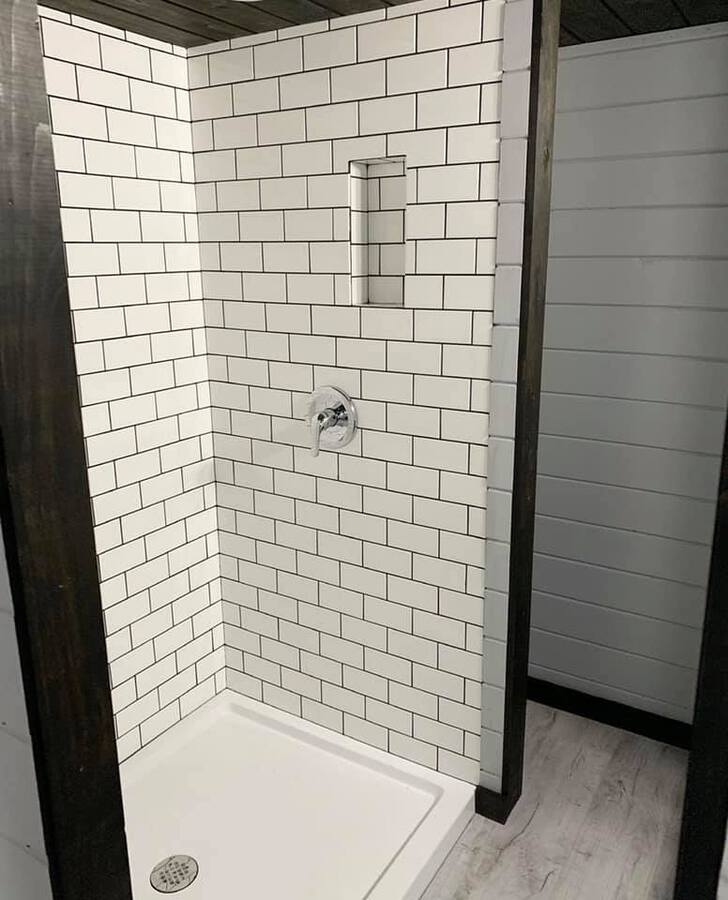White tiled shower