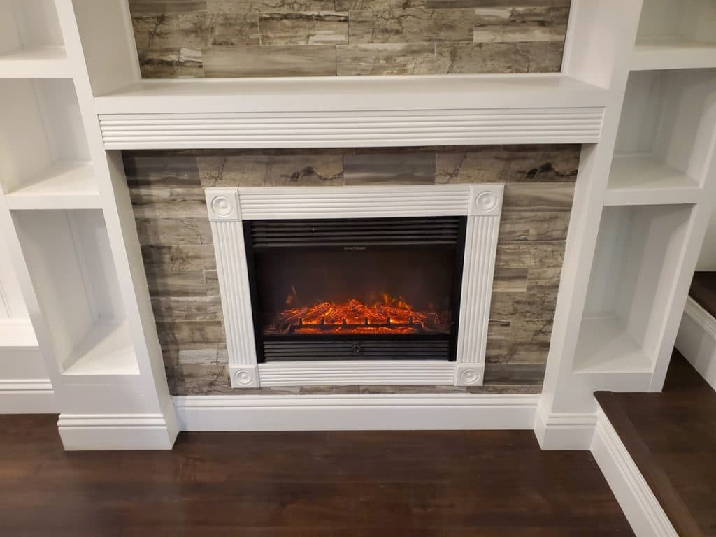 Lit fireplace