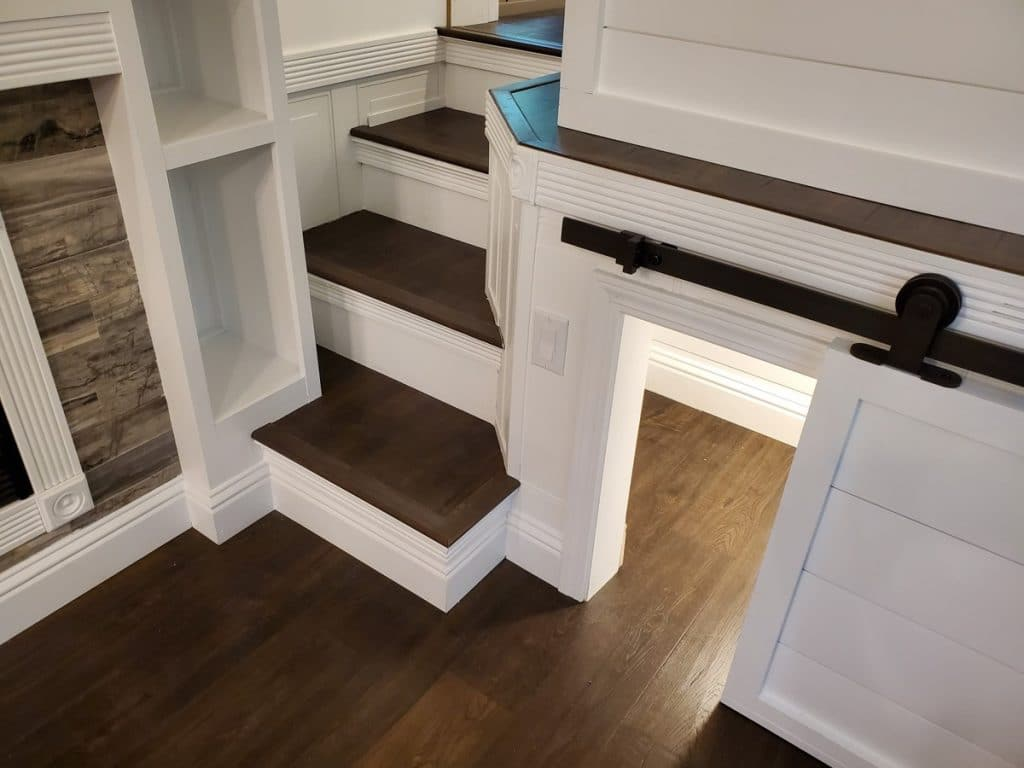 Steps to loft with dog door