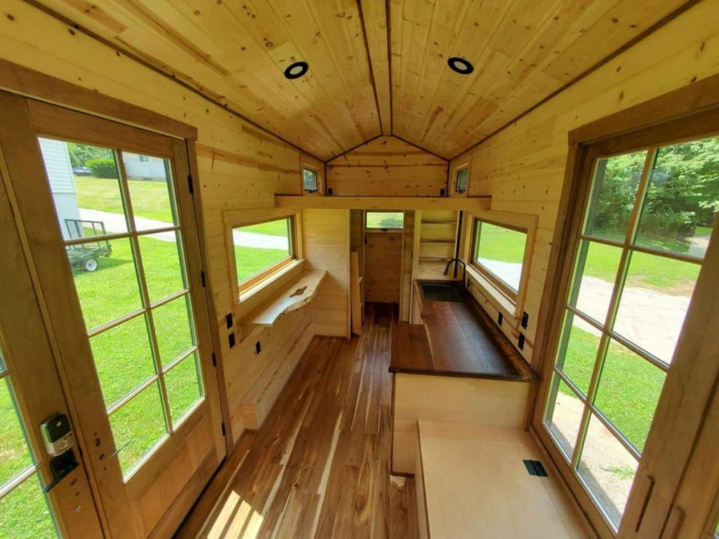Wooden interior of tiny house