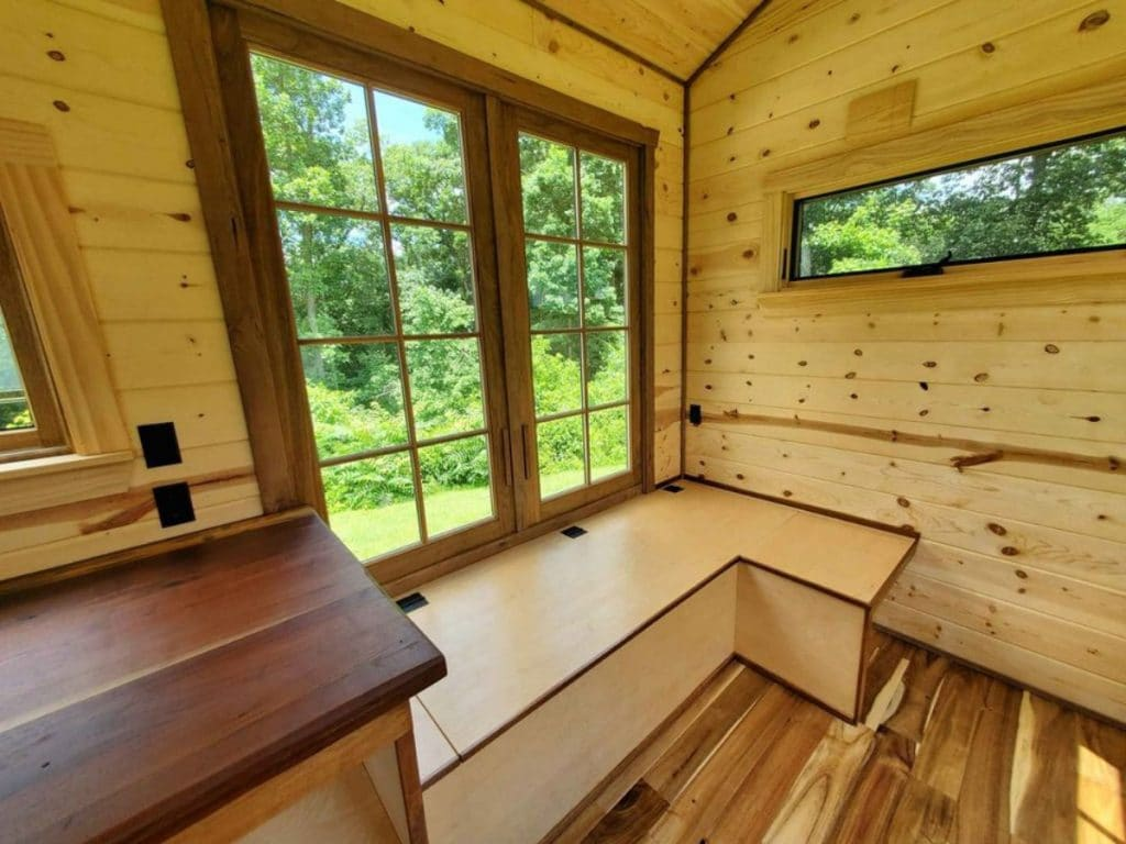 Wooden bench of tiny house