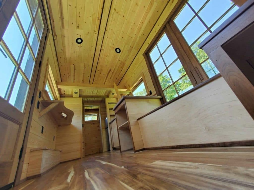 Stained floor in woodworkers dream tiny house