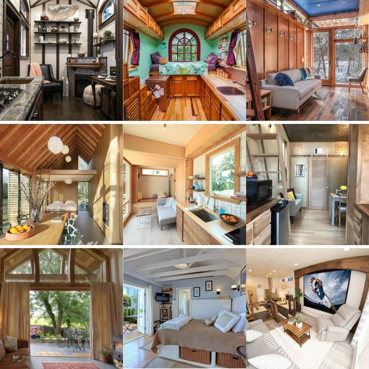 Photo collage featuring different tiny house interiors shown in the list below.