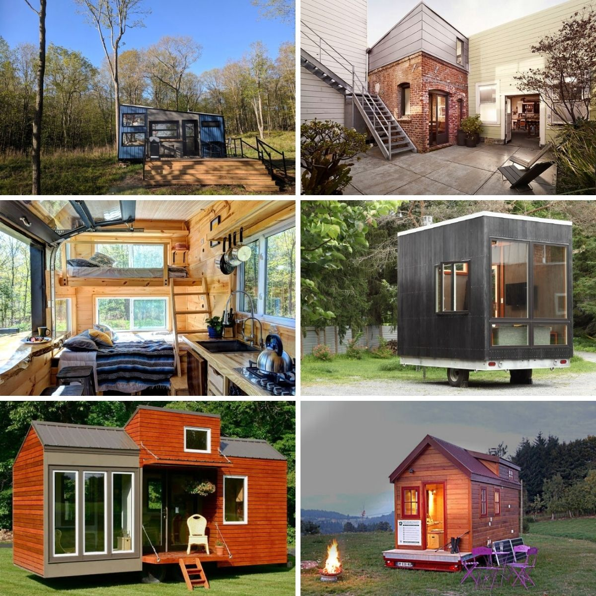 Collage photo featuring several under 200 sf tiny houses from the post.