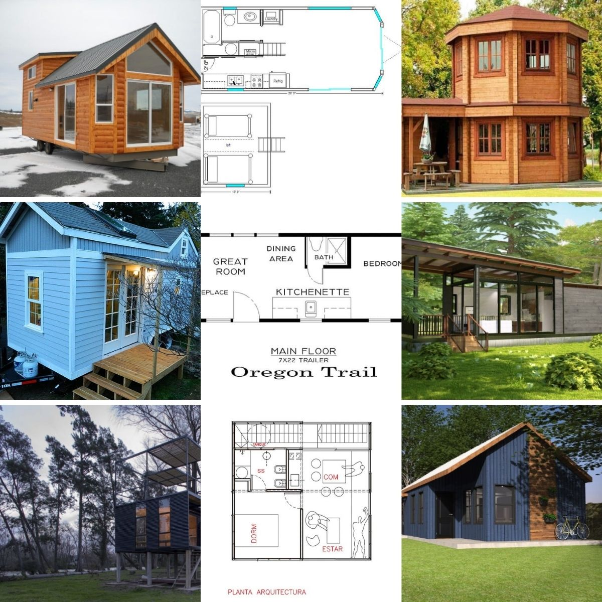 Collage photo featuring several tiny houses with free plans.