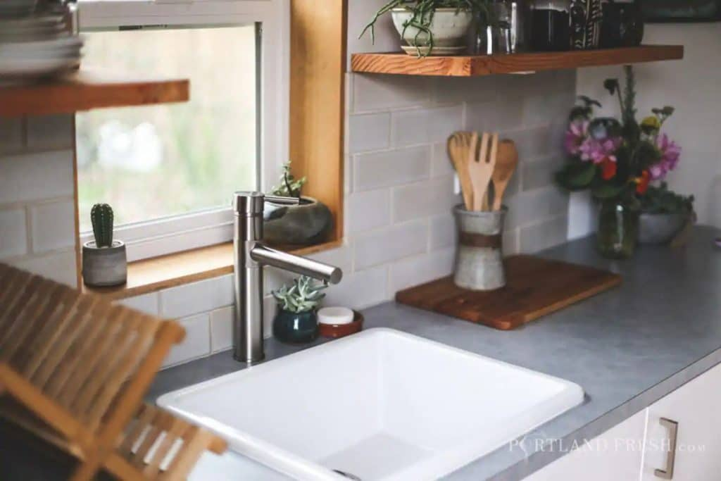 Kitchen sink in tiny home
