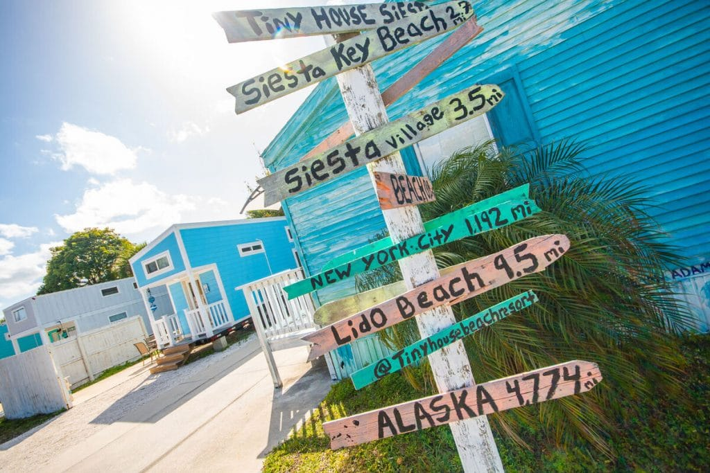 Destination signs by tiny house