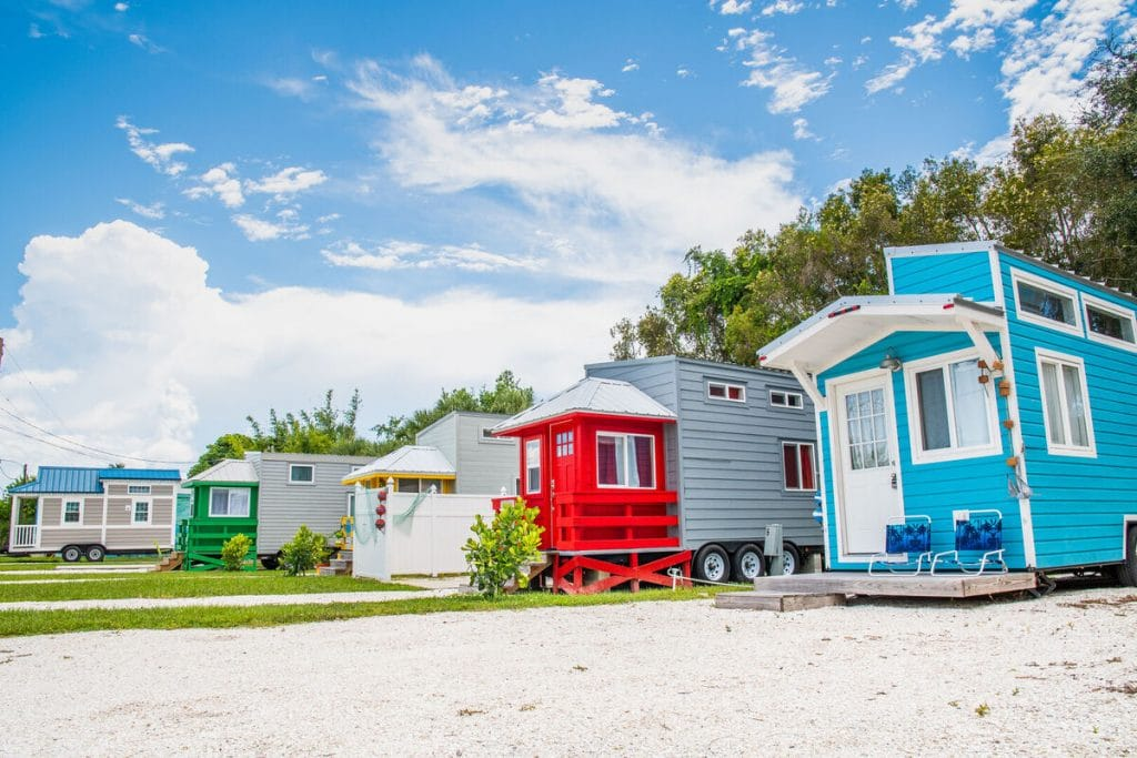 Colorful tiny house in a row