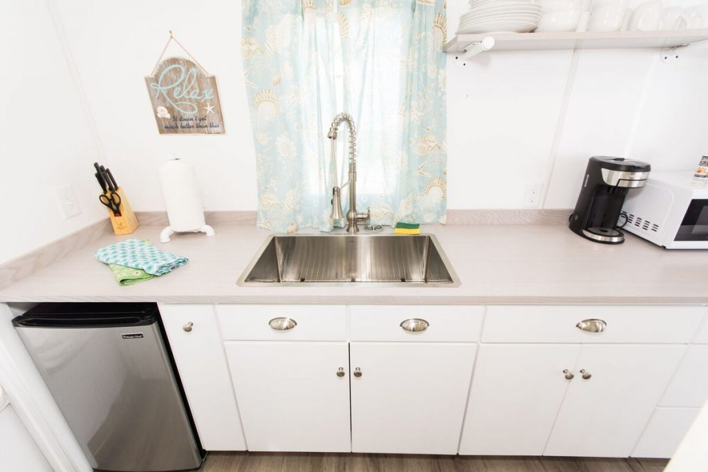 Stainless steel sink in kitchen