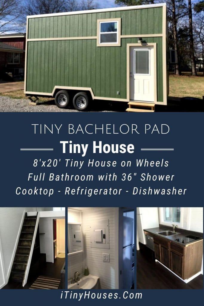 Green bachelor pad tiny house collage