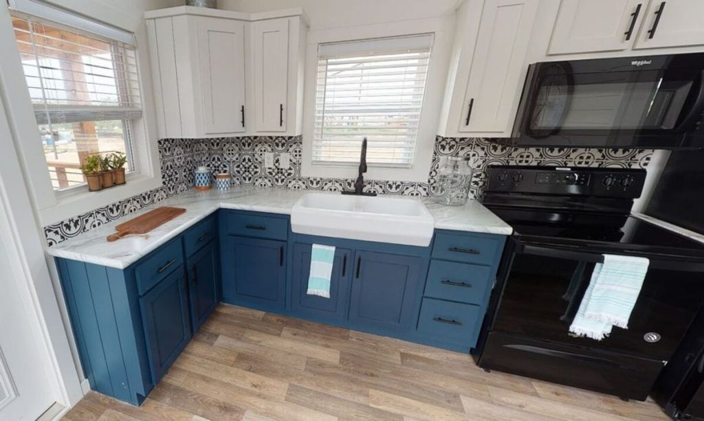 Teal cabinets in kitchen