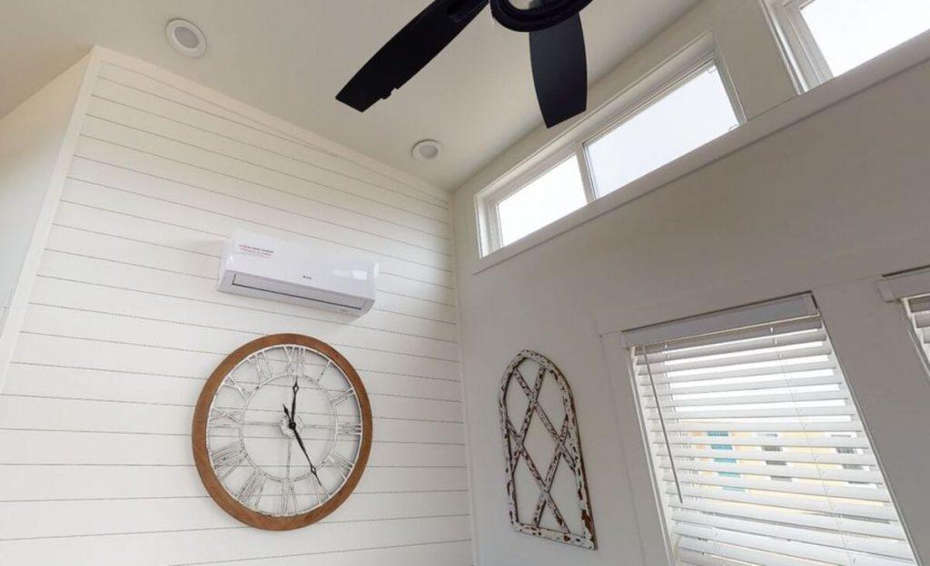 Ceiling fan above window