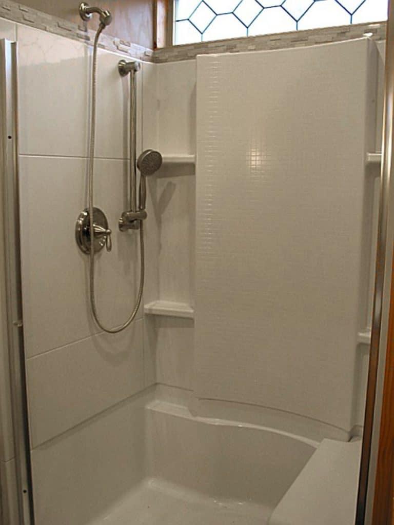 White shower stall