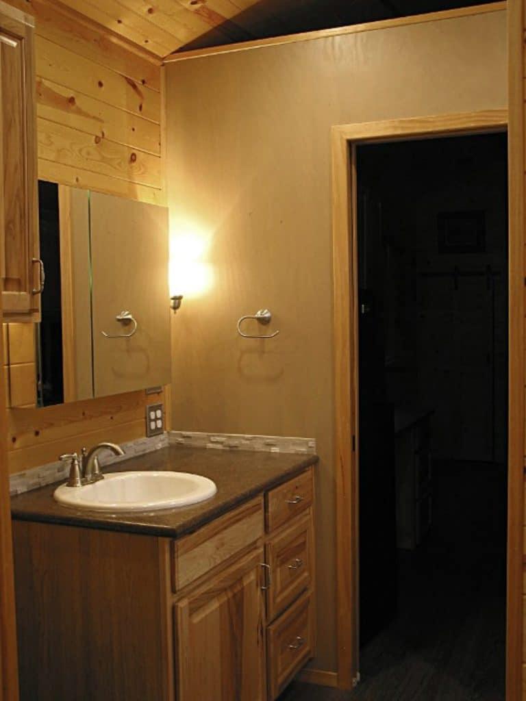 Vanity in tiny house bathroom