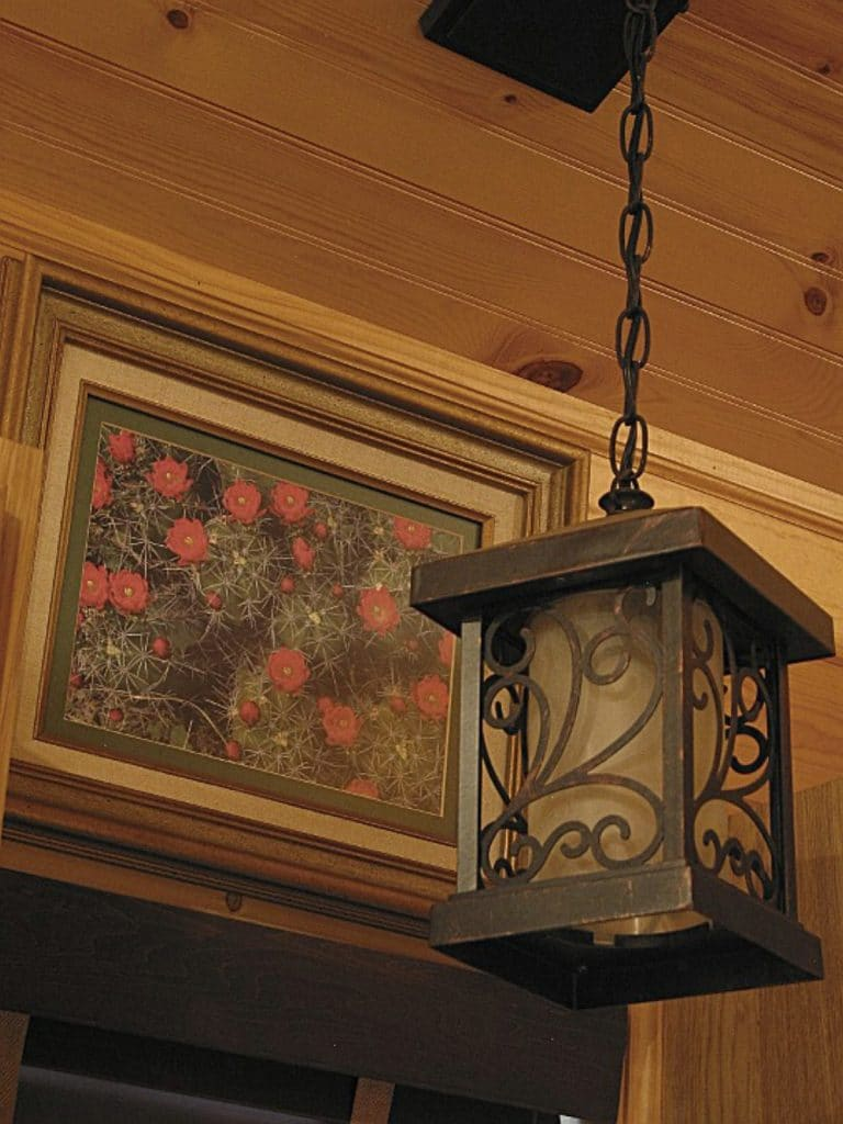 Hanging light fixture in house