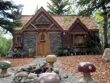 Fairy cottage with toad stools in front