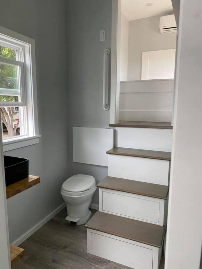 Tiny house bathroom stairs