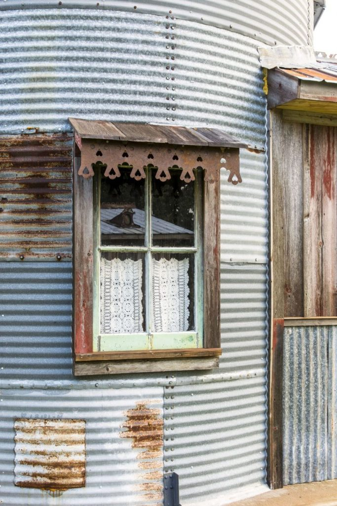 Window on outside of grain silo