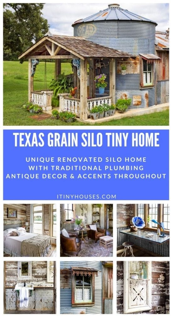 Grain silo tiny house collage