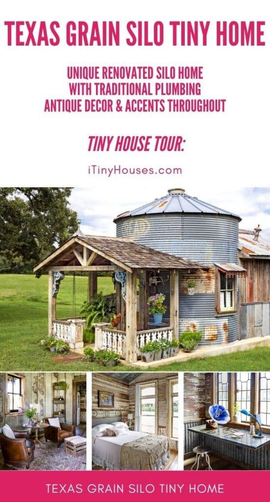 Grain silo tiny house collage