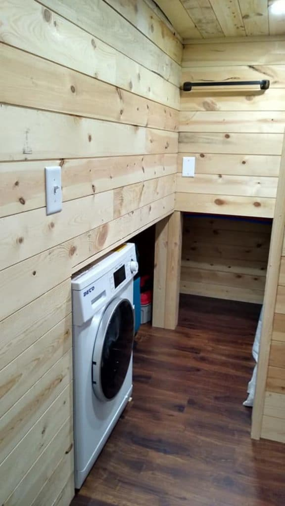 Tiny house bathroom laundry area