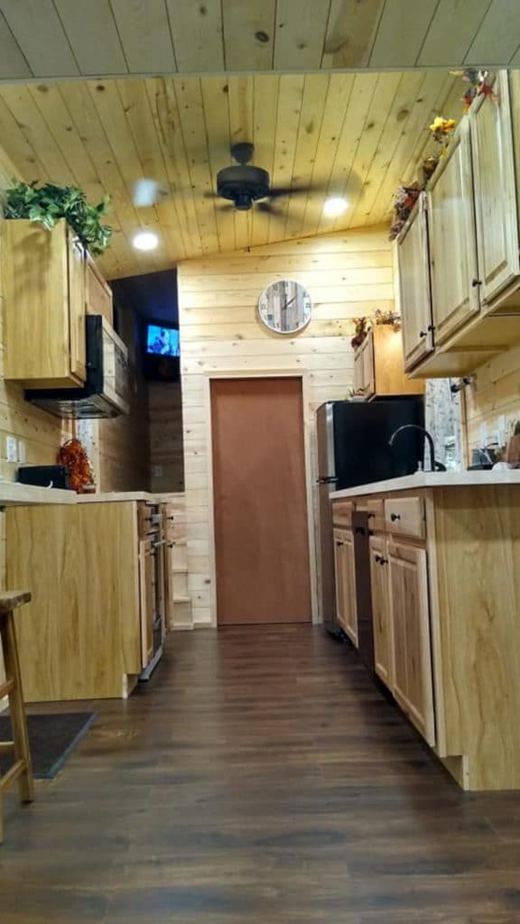 Tiny house kitchen looking up
