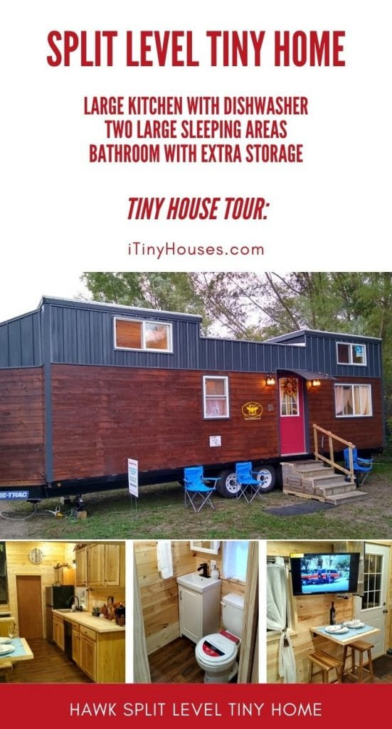 Split level tiny home collage