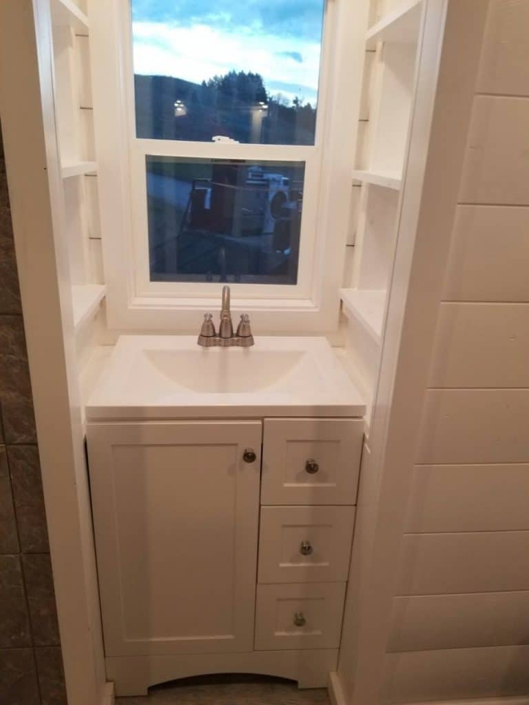 White vanity in tiny house