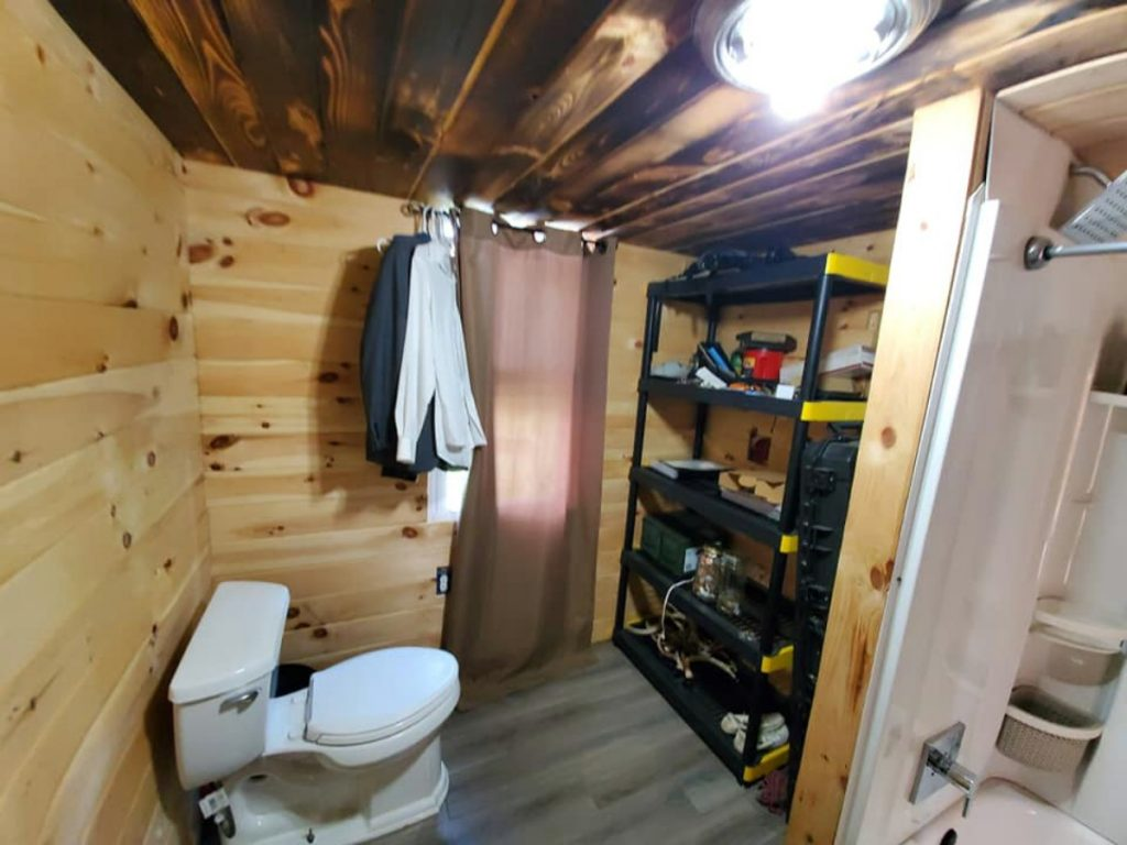 Bathroom and storage in tiny house