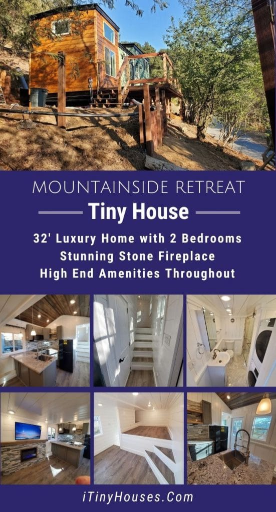 Mountainside retreat tiny house collage