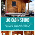 Log cabin on wheels collage