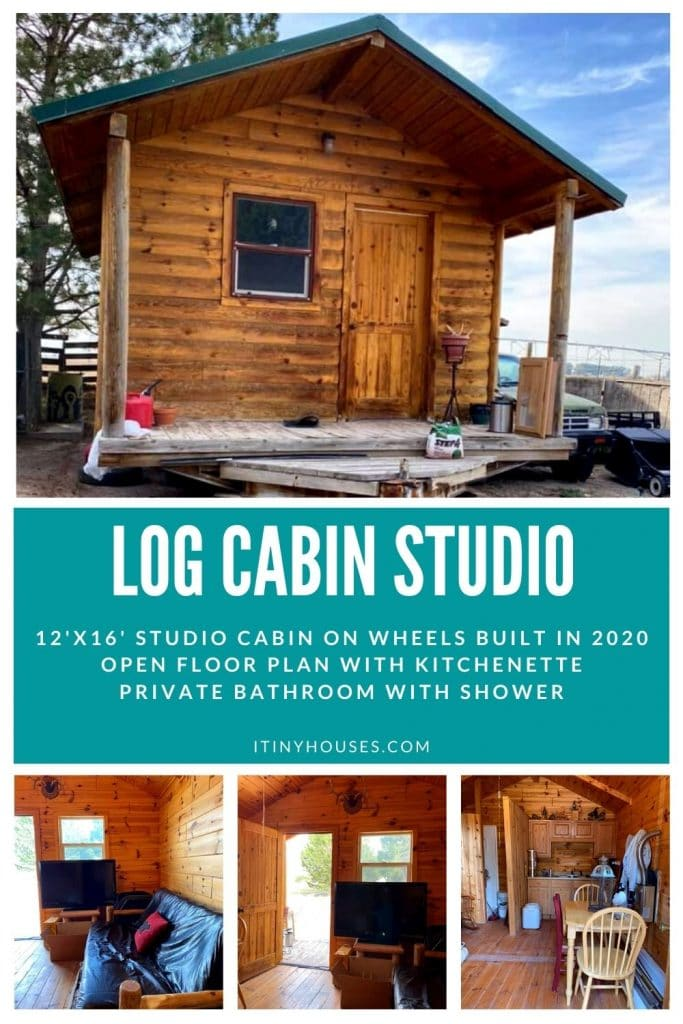 Log cabin on wheels collage