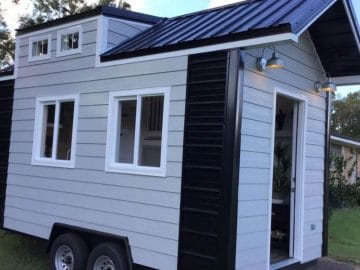Gray and white tiny house