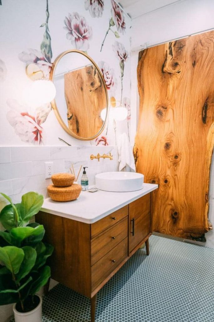Bathroom with wood door