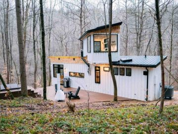 Retro two story shipping container house