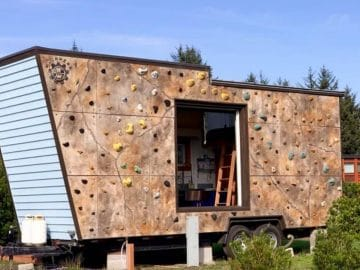 Climbing wall on tiny house