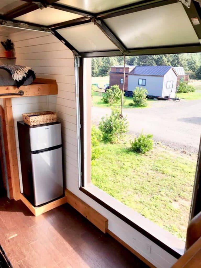 Open garage door on tiny house