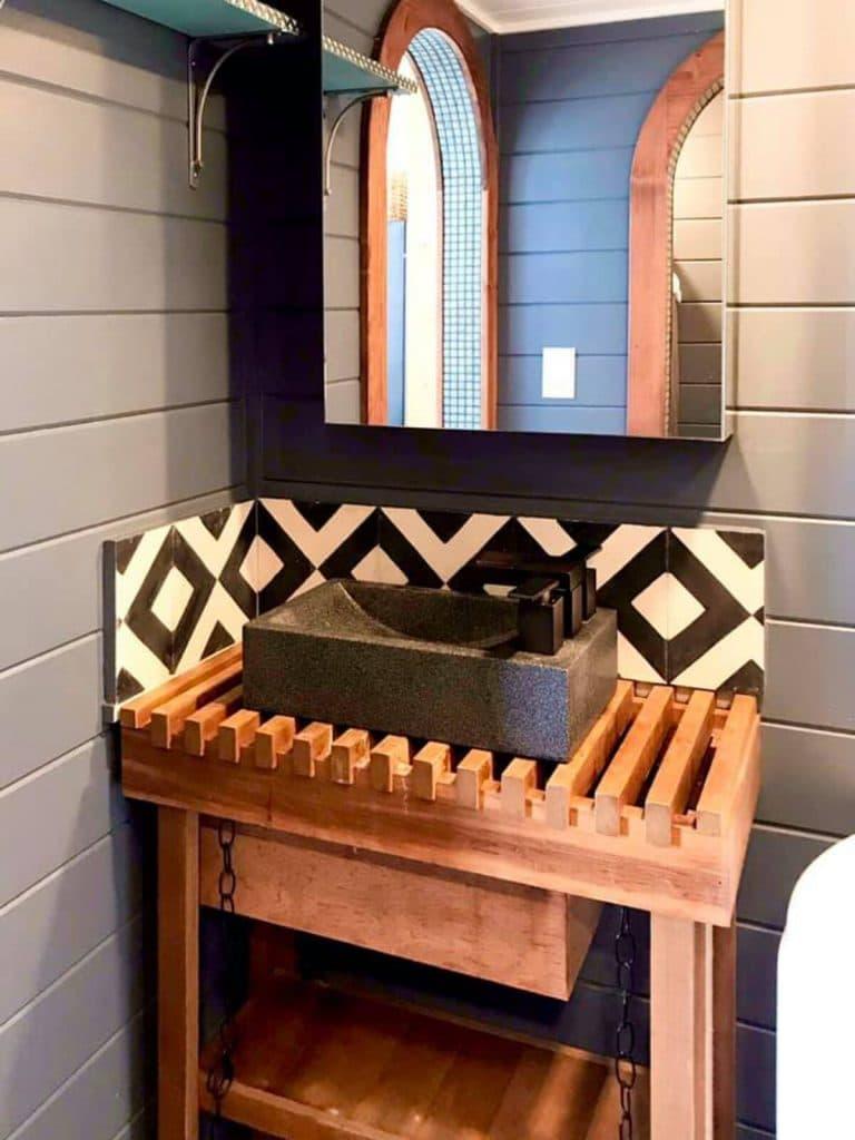 Custom sink and vanity with tile backsplash