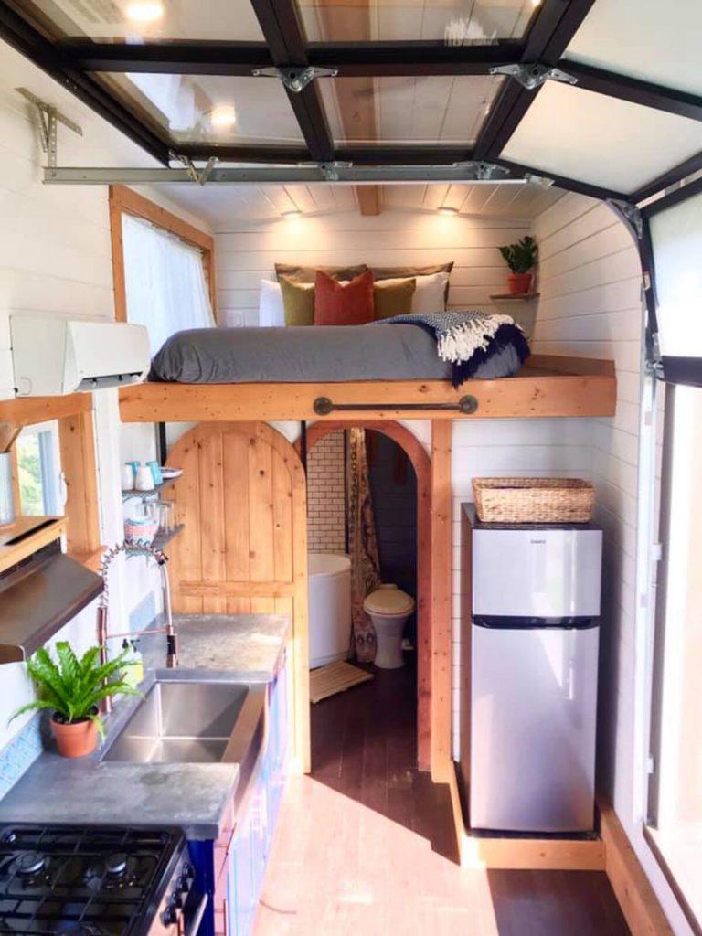 View of tiny house loft sleep area