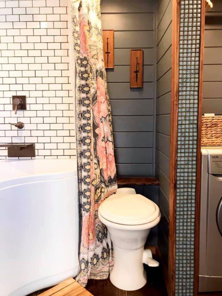 Tiled tiny house bathroom